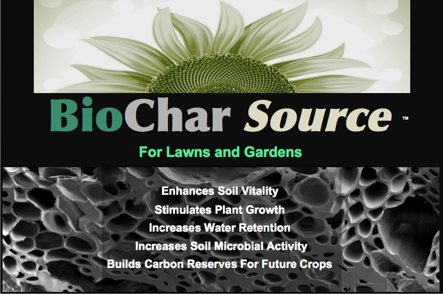 CharGrow Source product label, for landscaping and tree planting