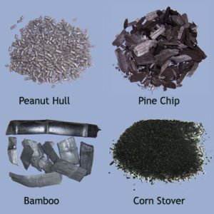 Biochar made from peanut hull, pine chip, bamboo, and corn stover